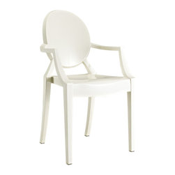 "Modway - Casper Dining Chair in White - Combine artistic endeavors into a unified vision of harmony and grace with the ethereal Casper Chair. Allow bursts of creative energy to reach every aspect of your contemporary living space as this masterpiece reinvents your surroundings. Surprisingly sturdy and durable, the Casper Chair is appropriate for any room or outdoor setting. Pure perception awaits, as shining moments of brilliance turn visual vacuums into new realms of transcendence. Includes: One - Casper Armchair; For All Weather Use; No Assembly Required; Injection Molded; Stackable; Sturdy Acrylic; Dimensions: 22""L x 21""W x 36""H; Seat Height: 18.5""H; Armrest Height: 26""H"