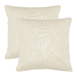 Safavieh - Safavieh Beaches 18-inch Cream Decorative Pillows (Set of 2) - Bring to mind days at the beach with this set of two square decorative pillows featuring a fun and beautiful conch-shell design. A handwoven cotton-and-linen cover and soft 100-percent polyester fill make these pillows plush and comfortable.