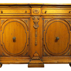 Francesco Molon - 16th Century Carved Pine Sideboard - Handmade in Italy. This sideboard is crafted from pine and finished with a semi-shiny gloss. In the tradition of Italian and French Country furnishings, this heirloom quality piece is crafted from magnificent wood and designed to comfort your family for years to come. Sideboard features two doors and two drawers.