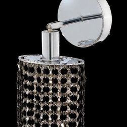 Elegant Lighting - Mini Ellipse Chrome One-Light Bath Fixture with Royal Cut Jet Black Crystal and - Royal Cut crystal is a combination of high quality lead free machine cut and machine polished crystals and full-lead machined-cut crystals to meet a desirable showmanship of an authentic crystal light fixture.  -Recommended to be professionally hung and supported independently of the outlet box. Consult an electrician for guidance to determine the correct hanging procedure.  -Crystals may ship separately and some assembly is required.  -Depending on the size & design the assembly can be time consuming, but is well worth the effort. Elegant Lighting - 1281W-R-E-JT/RC