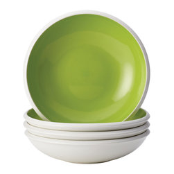 Rachael Ray - Rachael Ray Dinnerware Rise Green Stoneware 4-piece Soup/ Pasta Bowl Set - Give your table setting a pop of contemporary color with the two-tone Rise soup and pasta bowl set. Constructed of durable,non-reactive stoneware,this dishwasher and microwave-safe set by Rachael Ray Dinnerware features a bold green and white pattern.