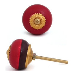 "Knobco - Wooden Knob, Red and Dark Red Wood - Red and Dark Red Wooden knob,perfect for your kitchen and bathroom cabinets! The knob is 1.5"" in  diameter and includes screws for installation."