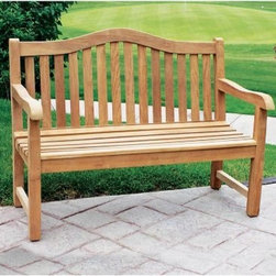 Jewels of Java Teak Geneva Bench - With its charming center arch and classic slat style the Teak Geneva Bench will create a warm and welcoming atmosphere on your patio. Contoured seating and smoothly sanded armrests provide extra comfort as you soak in the sights sounds and smells of the great outdoors. Perfect in the garden or lining a backyard path this durable bench is skillfully crafted from the finest teak wood. This bench's sturdy construction and mortise and tenon joinery enhance the strength already inherent in this ideal outdoor wood. Able to withstand years of outdoor use this inviting bench can also make a rustic natural accent for your sitting room entryway or indoor porch. More about teak wood: Teak wood is universally recognized for its quality durability and beauty. Teak is a very hard densely grained wood with a high oil content. The unique combination of these characteristics makes teak naturally resistant to moisture rot warping shrinking splintering insects and fungus. It is considered the ideal wood for outdoor furniture. This high-grade teak comes from plantations in Indonesia and the manufacturer is proud to work with Perum Perhutani the state-owned agency responsible for managing the conservation of the Indonesian teak forest. They ensure that no tree is harvested unless another is planted to replace it. The wood is then kiln dried and constructed with mortise and tenon joinery creating furniture to last a lifetime.
