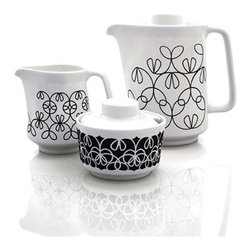 Inova Team - Modern Coffee - Set Of 3 - Based on the Guilloché engravings used to make money harder to copy, the notNeutral Ribbon pattern explores variations of interwoven lines that makes this collection one of a kind. Each piece in this modern, three-piece coffee service is adorned with a different variation of our Ribbon design in Black.