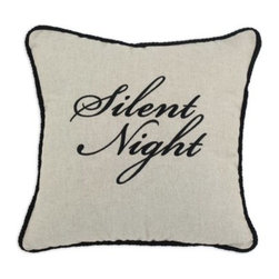 Chooty and Co Wisdom Silent Night Embroidered Throw Pillow - Meaningful and graceful, the Chooty and Co Wisdom Silent Night Embroidered Throw Pillow highlights the reason for the season. A handsome addition to your guest bed or sofa, this decorative pillow is crafted of 65% linen and 35% viscose. It features a natural khaki background with sophisticated black braided trim and embroidered Silent Night script. Its plush hypoallergenic poly fill makes it comfy.About Chooty & Co.A lifelong dream of running a textile manufacturing business came to life in 2009 for Connie Garrett of Chooty & Co. This achievement was kicked off in September of '09 with the purchase of Blanket Barons, well known for their imported soft as mink baby blankets and equally alluring adult coverlets. Chooty's busy manufacturing facility, located in Council Bluffs, Iowa, utilizes a talented team to offer the blankets in many new fashion-forward patterns and solids. They've also added hundreds of Made in the USA textile products, including accent pillows, table linens, shower curtains, duvet sets, window curtains, and pet beds. Chooty & Co. operates on one simple principle: What is best for our customer is also best for our company.