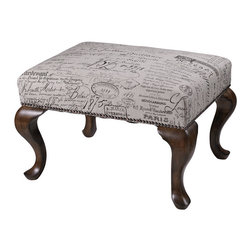 Sterling Industries - Sterling Industries 6071400 Marianne Ottoman - This Charming Bench Can Be Used A The Foot Of Our Wing Chair Or As An Occasional Bench In A Living Room Or Boudoir. Fabric Is A Linen Cotton Blend Displaying Antigue French Script And Queen Ann Legs Are A Warm Mahohany.   Ottoman (1)