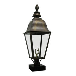 St. James Lighting - Quebec Large Copper Post Mount Lantern - Quebec Large Copper Post Mount Lantern. The Quebec Lantern is so versatile, it will match any d_cor and warm the entrance of your home or business. A beautiful rustic finish along with an old world style presents a welcoming feeling. With glass on all sides, this lantern has the ability to cast 360 degree light. A beautiful teardrop adorns the top for a finishing touch. With all different mounting options, you can choose from several unique displays to create a look all your own.