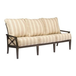 Woodard - Woodard Andover Sofa - The name Woodard Furniture has been synonymous with fine outdoor and patio furniture since the 1930s continuing the company�s furniture craftsmanship dating back over 140 years. Woodard began producing hand-made wrought iron furniture which led the company into cast and tubular aluminum furniture production over the years.� Most recently Woodard patio furniture launched its entry into the all-weather wicker furniture market with All Seasons which is expertly crafted and woven using synthetic wicker supported by an aluminum frame.� The company is widely known for durable beautiful designs that provide attractive and comfortable outdoor living environments.� Its hand-crafted technique used to create the intricate design patterns on its wrought iron furniture have been handed down from generation to generation -- a hallmark of quality unmatched in the furniture industry today. With deep seating slings and metal seating options in a variety of styles Woodard Furniture offers the designs you want with the quality you expect.  Woodard aluminum furniture is distinguished by the purest aluminum used in the manufacturing process resulting in an extremely strong durable product which still can be formed into flowing shapes and forms.� The company prides itself on the fusion of durability and beauty in its aluminum furniture offerings. Finishes on Woodard outdoor furniture items are attuned to traditional and modern design sensibilities. Nineteen standard frame finishes and nineteen premium finishes combined with more than 150 fabric options give consumers countless options to design their own dream outdoor space. Woodard is also the exclusive manufacturer of outdoor furnishings designed by Joe Ruggiero home decor TV personality.� The Ruggiero line includes wrought iron aluminum and all weather wicker designs possessing a modern aesthetic and fashion-forward styling inspired by traditional Woodard patio furniture designs. Rounding out Woodard�s offerings is a line of distinctive umbrellas umbrella bases and outdoor accessories.� These offerings are an integral part of creating a complete outdoor living environment and include outdoor lighting and wall mounted or free standing architectural elements � all made with Woodard�s unstinting attention to detail and all weather durability. Woodard outdoor furniture is an American company headquartered in Coppell Texas with a manufacturing facility in Owosso Michigan.� Its brands are known under the names of Woodard Woodard Landgrave and Woodard Lyon Shaw. With a variety of collections Woodard produces a wide array of collections that will be sure to suit any taste ranging from traditional to contemporary and add comfort and style to any outdoor living space. With designs materials and construction that far surpass the industry standards Woodard Patio Furniture creates beauty and durability that is unparalleled.  Features include Very durable and light weight aluminum material Minimal maintenance required Suitable to be used anywhere outside Available in various powdered coated finishes Offered in wide variety of fabric options for cushions Super comfortable high quality cushions designed for extreme comfort Commercial Grade. Specifications Seat Height: 21 inches.