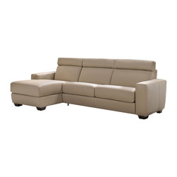 ESF - ESF Berna Full Beige Top Grain Italian Leather Sectopnal Sofa With Sofa Bed - The ESF Berna sectional sofa is a great addition for any living room that needs a touch of modern design. This sectional comes fully upholstered in a beautiful beige top grain Italian leather. High density foam is placed within the cushions for added comfort. The sofa features adjustable headrests for that extra touch of added relaxation. Built into the sofa is a pull out bed adding a touch of versatility to the sofa. Only solid wood products were used when crafting the frame making the sofa a very durable piece.