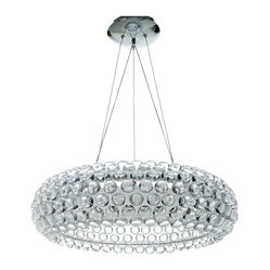 LexMod - Caboche Style Acrylic Crystal Chandelier - The circle of revolution displayed by the Caboche Series introduces spontaneous brilliance that reflects powerfully throughout any room. Adorning its bearer, the glass globe is a crown of experiential motion.