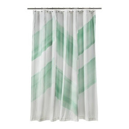 Nate Berkus Color-block Shower Curtain, Mint - I am always on the lookout for inexpensive ways to update my home each season, and this shower curtain brings my love of the trendy chevron pattern together with my new passion for mint.