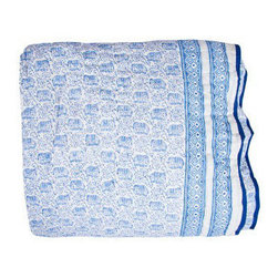 Elephant Parade Blue Quilt - Guests often come and go during the summer, and there are never too many quilts available for those cooler nights. This super soft and casual voile cotton quilt is perfect for keeping at the foot of the bed or for lounging in the sun.
