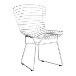 ZUO - Wire Dining Chair - An icon of mid-century modern, the Wire Dining Chair has a Zen-like simplicity. Uncomplicated lines in chromed solid steel can be topped with a leatherette cushion. Sold separately.
