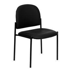 Flash Furniture - Flash Furniture Reception Black Vinyl Metal Stack Dining Side Chair - Complete your office or reception area with this stacking side chair by Flash Furniture. The comfortably padded seat and back are provided to make your guests feel at ease while waiting. The steel frame of this chair is strong enough to last for years of use. [BT-515-1-VINYL-GG] Operating out of Etowah GA (with a warehouse in Reno NV) Flash Furniture specializes in bold upbeat décor for home office or commercial spaces. With a wide array of colors and fashions to fit your budget Flash Furniture accommodates your every need. Features include Stackable Guest Chair Black Vinyl Upholstery 2.5'' Thick Padded Seat Two Steel Cross Brace Support Bars underneath Seat .75'' Leg Diameter Steel Tubular Steel Frame Black Powder Coated Finish CA117 Fire Retardant Foam. Specifications Seat Size: 19W x 18.5D Back Size: 18.5W x 14.25H Seat Height: 19H Finish: Black Powder Coat Color: Black Upholstery: Black Vinyl.