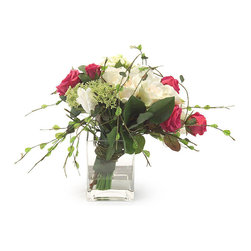 "Frontgate - Sherbert Delight Floral Arrangement - Hand-arranged polyester silk blooms and leaves. Clear, square glass vase. Filled with acrylic ""water"". Imported. Red and white roses are creatively wrapped in vines in the exuberant Sherbert Delight set. The bouquet of silk flowers pour forth from the square vase in a romantic display that's wider than it is tall. . . . ."