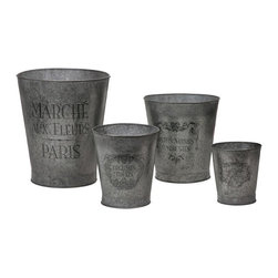 iMax - French Garden Pots, Set of 4 - This set of four galvanized garden pots feature elegant French writing and decorative accents.