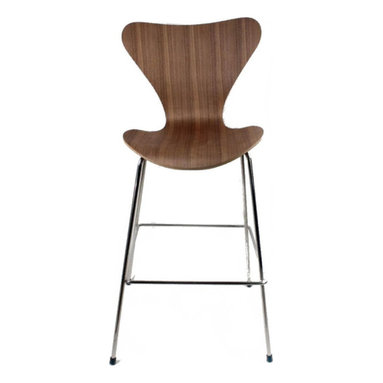 Fine Mod Imports - Arne Jacobsen Style Series 7 Counter Chair Walnut - The Arne Jacobsen Style Series 7 Counter Chair is great for homes and business use. With its simple shape the chair is sure to provide great comfort wherever used.