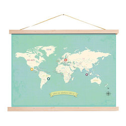 Rebecca Peragine Inc / Children Inspire Design - My Travel's Personalized World Map 24x18 Wall Art Poster + DIY Wood Frame Kit - The Our Travels World and USA maps are the modern must have for raising global children.  Show off your travels with stickers plotting memories of unforgettable family adventures.Creative and unique, just like your family. Use the posters to plan your future trips as well as capture where you've been.  Includes 16 unattached star stickers to highlight past and future travels.
