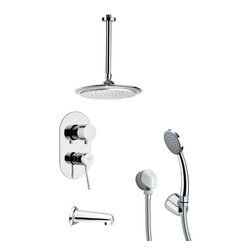 Remer - Polished Chrome Tub and Shower Faucet with Hand Shower - Single function tub and shower faucet.
