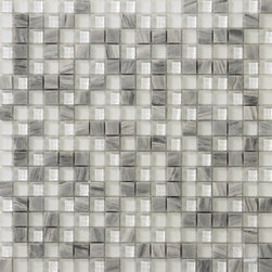 unico glass and stone masaic collection: crystal gray stone mosaic blend -