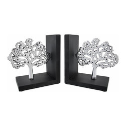 Zeckos - Wood/Polished Aluminum Tree of Life Bookends - These bookends add a lovely accent to any shelf or bookcase in your home. They feature a polished aluminum tree of life on a black wooden base that complements most any home decor. Each bookend measures 6 inches long, 7 inches tall, 4 inches wide and has foam pads on the bottom to prevent scratching delicate surfaces. This set makes a thoughtful housewarming gift for a friend, and is sure to be admired.