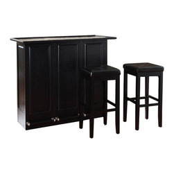 "Crosley Furniture - Crosley Mobile Folding Bar in Black with 29"" Upholstered Stool - Crosley Furniture - Home Bars - KF400035BK"