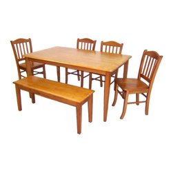 Boraam - Boraam Shaker 6 Piece Dining Set in Oak - Boraam - Dining Sets - 86136 - Boraam's high quality products are well styled and priced right. Benefitting from years of experience in the industry Boraam knows what you look for in quality furniture and takes pride in getting orders out as diligently as possible. Feel confident that Boraam will take your living space to another level.