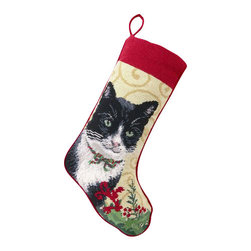 Peking Handicraft - Black & White Cat Needle Point Stocking - With its charming vintage design and intricate needle point quality, our adorable pet stockings are ready to fill with toys and treats for your best friends! This well made stocking features a plush velveteen color coordinated back and is meant to last for years! Indeed Decor will donate 20% of profits to animal rescue charities. Dry Clean Only. 11x18 inches