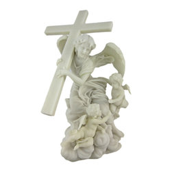 Angel Carrying Cross Marble Look Statue - This beautiful marble look statue features an Angel carrying a cross, with a pair of Cherubs flying about. It is a reproduction of a statue that can be found at the Alaleona Chapel in Rome. The statue stands 10 inches tall, is 6 1/2 inches wide and 6 inches deep. Made of cold cast resin, it has the look of marble, and shows incredible detail.