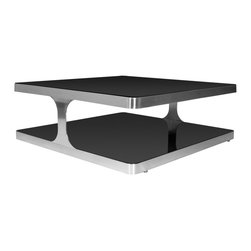 Allan Copley Designs - Allan Copley Designs Diego 40 Inch Square Cocktail Table w/ Black Glass Top and - The Diego Collection by Allan Copley Designs brings industrial sophistication to today's contemporary environments. The brushed stainless steel frame is softened by the rounded corners and accented with black glass top and shelf. Ample surface space provides an chic and dynamic entertaining area. The Diego Collection includes Square Cocktail, Rectangular Cocktail and Square End Table. What's included: Table Top (1), Table Base (1).