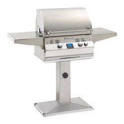 "Fire Magic - Aurora A430s2A1NP6 Patio Post Mount NG Grill - A430 Patio Post Mount Grill with Rotisserie Backburner, Grill Light & Infrared Burner System Aurora A430s-P6 Features: Cast stainless steel ""E"" burners - guaranteed for life"