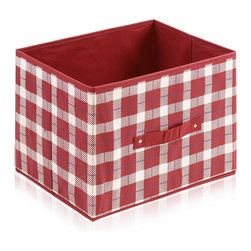 Furinno - Furinno Laci 111 Soft Storage Organizer, Red-Check - These bins are simple and stylish in design yet functional and suitable for any room and for any age. These colorful and fun bins are perfect for cutting down on clutter and at the same time added some joyful atmosphere to your space with its thoughtful fun design. These soft storage bins are easily pull out of your storage space thanks to the sewn in handle. Durable, eye-catching and easy to use. Furinno thinks of ways to fit in your space and fit on your budget.