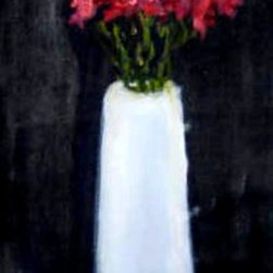 """The White Vase"" Artwork - A long narrow oil painting of red flowers in a tall white vase on a black background"