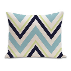 Chevron Organic Cotton Fabric 18 x 15 Pillow in Surf/Lime/Ink/Natural