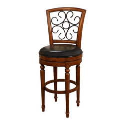 American Heritage - American Heritage Fosteria Stool in Hazelnut w/ Black Leather - 26 Inch - A whimsical use of wrought iron used in the framework will certainly add to the beauty of your home.  The Mortise and tenon construction which adds strength and durability provides the strength this stool offers for many years of service.  The black leather seat against the hazelnut frame is not only comfortable but will compliment any décor.