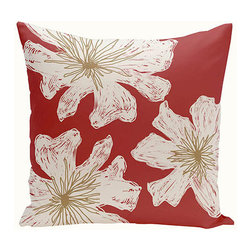 e by design - Floral Red and White 16-Inch Cotton Decorative Pillow - - Decorate and personalize your home with coastal cotton pillows that embody color and style from e by design   - Fill Material: Synthetic down  - Closure: Concealed Zipper  - Care Instructions: Spot clean recommended  - Made in USA e by design - CPO-NR19-Buddha_Rattan-16