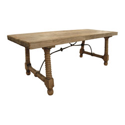Kathy Kuo Home - Zareb Reclaimed Rustic Elm Wood Spanish Iron Base Dining Table - Break out the eggs and bacon. This rustic dining table looks like it was built to host a good ol' country feast. The antique elm table features iron accents and decorative turned legs. Combined with the Zareb bench, it's the ideal kitchen table.