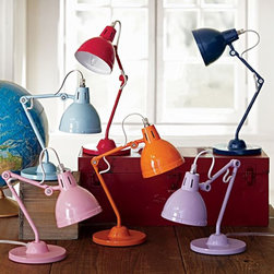 Solid Task Lighting - These gooseneck task lamps let little scholars shine the light right where they need it. I love the color choices too.