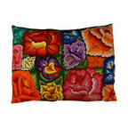 """Oaxacan Earthen Flower Pillow - Gorgeous pillow made from hand embroidered textiles from Oaxaca. The large size looks amazing in any room. Use it as a floor throw pillow or on a sofa or bed. Insert included. Side zipper. Brown woven back. Size: 22""""x32"""""""