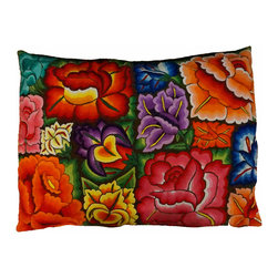 "Oaxacan Earthen Flower Pillow - Gorgeous pillow made from hand embroidered textiles from Oaxaca. The large size looks amazing in any room. Use it as a floor throw pillow or on a sofa or bed. Insert included. Side zipper. Brown woven back. Size: 22""x32"""
