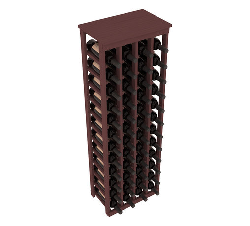 """Wine Racks America - 48 Bottle Kitchen Wine Rack in Ponderosa Pine, Walnut Stain - Store 4 complete cases of wine in less than 20"""" of wall space. Just over 4 feet tall, this narrow wine rack fits perfectly in hallways, closets and other """"catch-all"""" spaces in your home or den. The solid wood top serves as a shelf or table top for added convenience and storage of nick-nacks."""