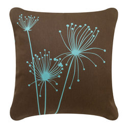 Wabisabi Green - Papyrus Eco Pillow, Chocolate/Aqua, Without Insert - Add a natural touch to your contemporary decor with this earthy-colored, nature-themed throw pillow made from organic cotton twill. The simple and lovely papyrus design is hand-printed using environmentally safe inks for a non-toxic, ecofriendly home accent.