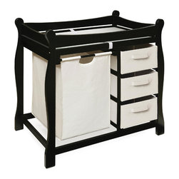 Badger Basket - Black Sleigh Style Changing Table With Hamper/3 Baskets - This changing table keeps everything tidy and concealed for a clean look in the nursery. Large pull out hamper for dirty duds, or for storing bulk packs of diapers, blankets, and toys. And three pull-out baskets are ideal for changing supplies, clothes, socks, shoes, and toiletries. Hamper bag measures approximately 15x15x23 inches and baskets measure approximately 13x17x7 inches. It can be used with children weighing up to 30 lbs. (13.6 kg).