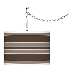 """Giclee Glow - Contemporary Carafe Bold Stripe Giclee Glow Plug-In Swag Pendant - Translucent drum shade. Custom-printed Carafe brown Bold Stripe pattern. Brushed silver finish. Maximum 100 watt or equivalent bulb (not included). In-line on/off switch. Shade is 13 1/2"""" wide 10"""" high. Includes 15 feet lead wire 10 feet chain.   Translucent drum shade.  Custom-printed Carafe brown Bold Stripe pattern.  Brushed silver finish.  Maximum 100 watt or equivalent bulb (not included).  In-line on/off switch.  Shade is 13 1/2"""" wide 10"""" high.   Includes 15 feet lead wire 10 feet chain."""