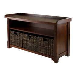 """Winsome Wood - Winsome Wood Granville Storage Bench w/ 3 Foldable Baskets - Storage Bench w/ 3 Foldable Baskets belongs to Granville Collection by Winsome Wood Bench to sit, Bench to rest, Bench that works. This storage bench comes with 3 foldable corn husk baskets in chocolate color. Bench overall size is 40""""W x 14.20""""D x 22""""H. Basket is 11.02""""W x 10.24""""D x 9.06""""H. Bench is made with combination of solid and composite wood in Antique Walnut Finish. Assembly Required. Bench (1), Basket (3)"""