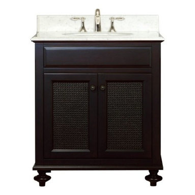 """Water Creation Inc. - London Collection 30"""" Wide Single Sink Vanity - The Water Creation London Collection 30"""" single sink bathroom vanity is perfect for the bathroom project that demands a striking focal point. This Espresso finished vanity features 2 doors and a Carrara White Marble counter top with backsplash. The counter top is pre-drilled for 8"""" wide spread lavatory faucets."""