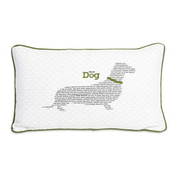 "iMax - iMax Haute Dog Pillow X-54068 - No matter what language, our dogs are our best friends. This ""Haute Dog"" pillow features green trim and embroidered accents over a dachshund silhouette... pun intended."