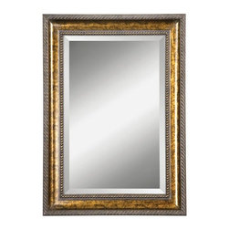 "Uttermost - Uttermost 14157 B Sinatra Vanity Beveled Mirror - Uttermost 14157 B Sinatra Vanity MirrorFrame features a hand applied gold leaf undercoat with blotched brown stain, black speckling and a dark gray glaze. Mirror has a generous 1 1/4"" bevel.Features:"