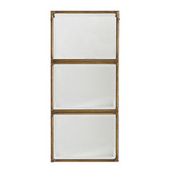 STACKED PANEL MIRROR - Those that speak the least often have the most to say. Anyone that encounters this piece will have plenty to talk about because sometimes simplicity is the best design. This mirror is commanding both in its simplicity and heft. The three connected mirror panels will reflect sunlight from beyond your impeccably matched drapes and from your one-of-kind lamps. Best of all, every time you see it, it will reflect the satisfied face of someone who has done their job well.