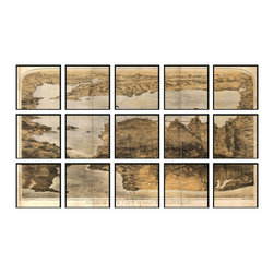 """Christopher David - San Francisco Artifact Map, 15-Panel Mural - Material: Wood or metal, glass Finish: Matte black wood or industrial grey metal Dimensions: 105""""W X 63""""H (approximate size of entire mural, without frame spacing)"""